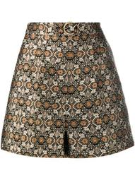patterned jacquard belted shorts