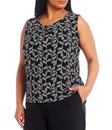 Plus Size Sleeveless Leaf Print Knit Top