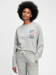 Gap Logo Raw Hem Crewneck Sweatshirt