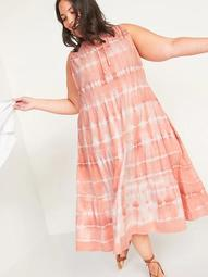 Tiered Tie-Neck Tie-Dyed Plus-Size Midi Swing Dress