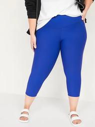 High-Waisted Powersoft Side-Pocket Plus-Size Crop Leggings