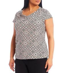 Plus Size Diamond Printed Drape Neck Knit Top