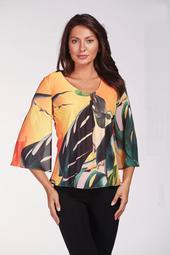 Multi Color Floral Print 3/4 Sleeve Top