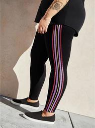 Premium Leggings - Multicolor Side Stripe Black