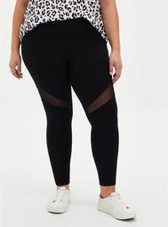 Premium Leggings - Mesh Thigh Inset Black
