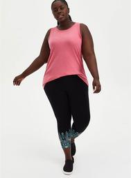 Crop Premium Leggings - Floral Leg Placement Black