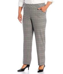 Plus Size the PARK AVE fit Straight Leg Pull-On Plaid Pants