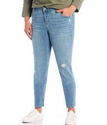 Plus Size Worn Denim THE FIT FORMULA Slim Straight Jeans