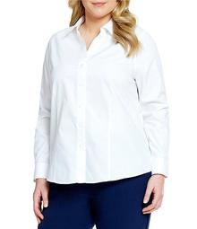 Plus Size Christine Gold Label Non-Iron Long Sleeve Button Front Shirt