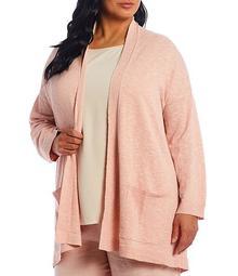 Plus Size Organic Cotton Linen Slub Knit High Collar Long Cardigan