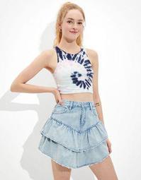 AE Super High-Waisted Tiered Denim Skirt