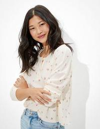 AE Cropped Floral Long-Sleeve Henley T-Shirt