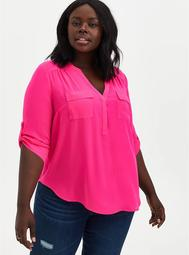 Harper - Neon Pink Georgette Pullover Blouse