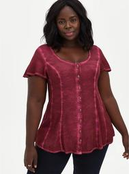 Red Washed Soft-Stretch Challis Fit & Flare Blouse