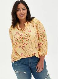 Yellow Floral Crinkle Gauze Eyelet Trim Top