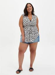 Emma - White Leopard Challis Babydoll Tunic