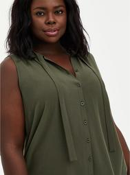 Olive Crepe Tie Front Button Front Top