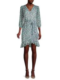 Ditzy Floral-Print Faux-Wrap Dress