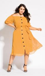 Button Through Dress - gold