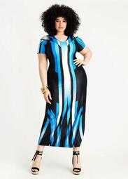 Border Cold Shoulder Maxi Dress