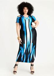 Border Cold Shoulder Maxi Dress