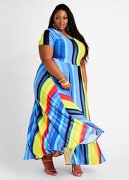 Tall Ombre Stripe Flare Knit Maxi Dress