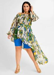 Leaf Print Asymmetrical Duster