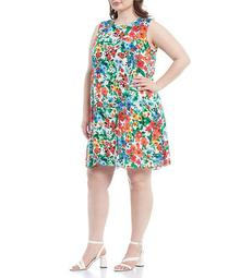 Plus Size Sleeveless Floral Trapeze Dress