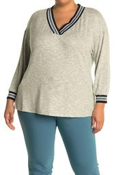 V-Neck Stripe Lurex Trim Sweater