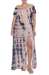 Off-the-Shoulder Tie Dye Print Maxi Dress