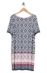Elbow Sleeve Geometric Border Print Dress