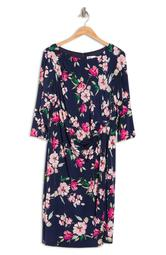 Long Sleeve Floral Print Side Drape Dress