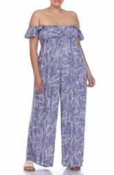Smocked Ruffle Strap Wide Leg Jumpsuit