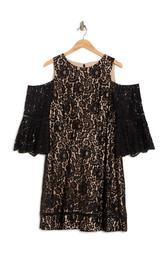 Lace Fit & Flare Cold Shoulder Dress