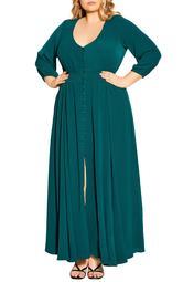 Desire Shirred Waist Button Front Maxi Dress