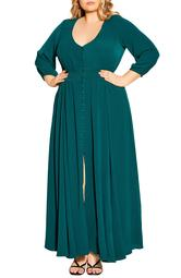 Desire Shirred Waist Button Front Maxi Dress