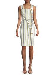 Striped & Button Dress