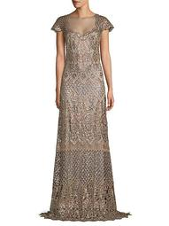 Sequin-Embellished Openwork Lace Gown