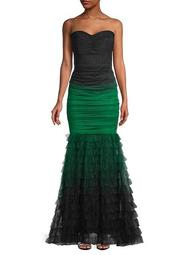 Strapless Ombre Mesh Mermaid Gown