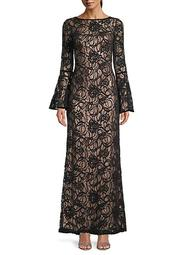 Bell-Sleeve Lace Gown