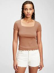 Modern Lettuce-Edge Cropped T-Shirt