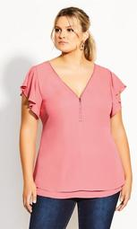 Zip Fling Top - carnation