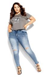 Asha Grit Skinny Jean - mid denim