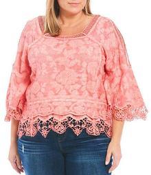 Plus Size Square Neck Cold Shoulder 3/4 Sleeve Crochet Detail Cotton Woven Top