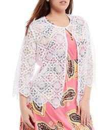 Plus Size Geometric Lace Open-Front Scallop Trimmed Jacket