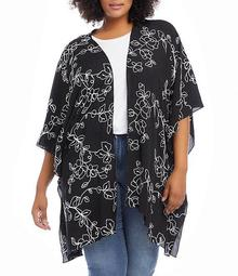 Plus Size Allover Floral Embroidered Open-Front Kimono Jacket