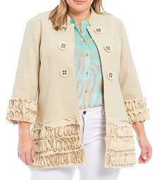 Plus Size Solid Linen-Blend Stand Collar 3/4 Sleeve Soutache Trim Georgette Jacket