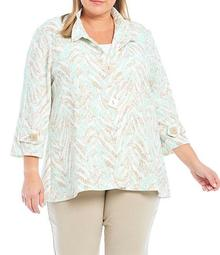 Plus Size Multicolor Animal Print Collared 3/4 Sleeve Shirred Back Crepe Knit Swing Jacket