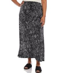 Plus Size Abstract Dot Print Pull-On Maxi Skirt