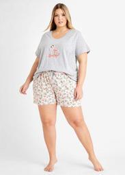 Rene Rofe Flamingo PJ Shorts Set